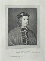 "Gravure ancienne anglais ""King Edward IV"", engraving english,1790."