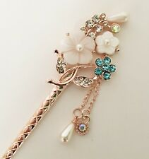 Sakura Flower Design Hair Stick with Pearl, shell, and rhinestones
