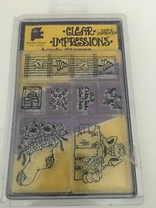 Provo Craft Clear Impressions Acrylic Stamps Christmas Stocking Present Stars