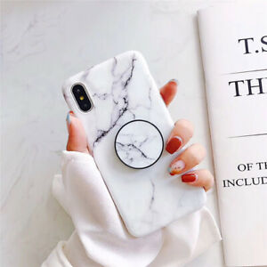 For iPhone 13 Pro Max 12 11 XS Max XR X Marble Stand Holder Soft TPU Case Cover