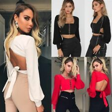 Lady Sexy Halterneck Lace up Crop Tops T-Shirt Loose Sleeve Chest Wrap Blouse BO