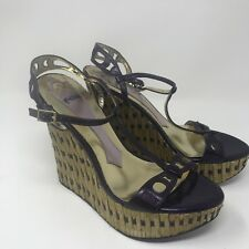 HALE BOB COLBY Size 10 Vintage Purple Leather Bamboo High Heel Wedge Shoes Tiki