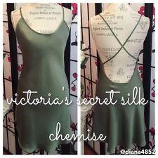 Auth Vtg 80S Victoria'S Secret M 100% Silk Dk Green Chemise Crisscross Straps