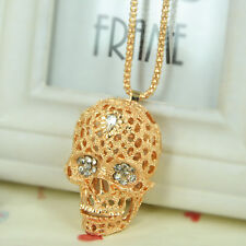 Skull Head Sweater Bead Necklace Rhinestone Crystal Chian Pendant Valentine Gift