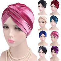 Women Indian Turban Hat Head Wrap Stretchable Chemo Pleated Hijab Cap Fashion