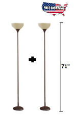Tall  Floor Lamp Night Light SET OF 2 Modern Living Base Shade Stand Metal Brown