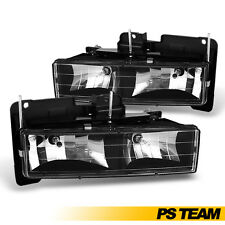 [Black] 1988-1998 Chevy GMC C10 C/K 1500/ 2500/ 3500 Truck Headlights Lamps Pair
