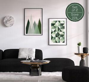 Green Print Set, Wall Art Set, Scandi Print Set, Green Wall Art, Geometric Print
