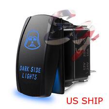 LED Waterproof BLUE ROCKER SWITCH LASER ETCHED 12v 20a LED Dark Side LIGHTS CAR