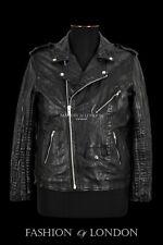 Mens BRANDO Leather Jacket Black Napa Croc Print SLIM-FIT Classic Bikers Style