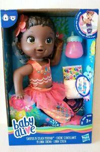 Baby Alive Shimmer 'N Splash Mermaid African American Doll & Accessories New