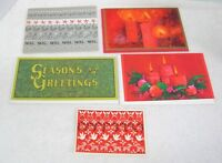 5 Vintage Greeting Card Christmas 1950-60s Candles Scandinavian Design O18D