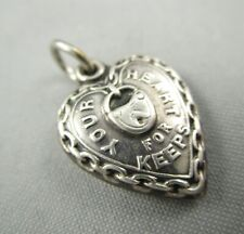 Heart For Keeps Puffy Charm #4777E Vtg Victorian Rebus Sterling Silver Lock Your