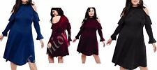 Womens Front Frill Cuff Plus Size Skater Long Sleeve Cold Cut Out Shoulder Dress