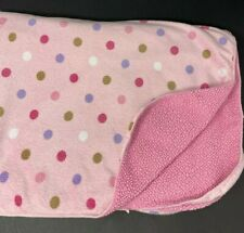 Just Born Baby Blanket Pink w/ Purple Brown White Polka Dots Sherpa Lovey Kohls