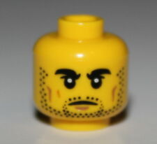 Lego Yellow Minifig, Head Black Thick Eyebrows and Stubble, Dark Tan Cheek Lines