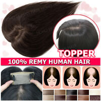 Silk Base Mono Lace Remy Human Hair Topper Toupee Hairpiece Top Wig For Women US