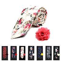 Men's Boxed Floral Cotton Slim Tie and Lapel Pin