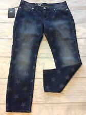Rock & Republic Womens Jeans Size 12 Starlight Star Print New Skinny Crop Ankle