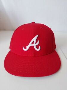 Atlanta Braves Fitted Hat/Cap by New Era 59Fifty Adult SZ 7 MLB RED