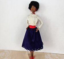 VINTAGE 1979 FIRST Black Barbie Doll Afro Flocked Midi Dress Mattel! Rare!