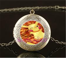 Pokemon Pikachu Cabochon LOCKET Pendant Bronze Chain Necklace USA Shipper #122