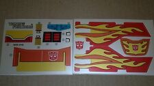 A Transformers complete replacement sticker/decal sheet for G1 Rodimus Prime