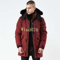 Mens Duck Down Hooded Trench Coat Warm Jacket Mid-Length Parkas Outwear Winter