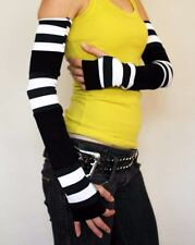Extra Long Black White Patchwork Fingerless Gloves Striped Arm Warmers 1224