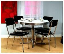 retro dining table set 5 piece 50s kitchen vintage diner chrome black chair new chrome tms dining furniture sets   ebay  rh   ebay com