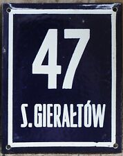 Large old Polish house number 47 door gate plate plaque enamel French blue sign