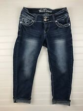 Wallflower Juniors Jeans Size 1  Capris Bling Pockets Stretchy Dark Denim G92