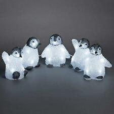 5 Piece Acrylic PENGUINS LEDs light up- 3D Christmas decoration, indoor/outdoor