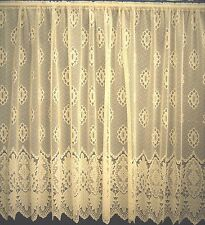 JOANNA CREAM FLORAL JACQUARD NET CURTAIN HAS SMALL SCALLOPED EDGE BEDROOM LOUNGE