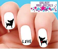 Dog Waterslide Nail Decals - Set of 20 Chihuahua Love with Red Heart Assorted