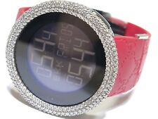 Men's GUCCI REF#114-2 Two-Time Zone Digital Watch Custom White Diamond Bezel