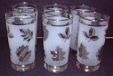 Silver Leaf  Glasses Set Of 6 High Balls, Vintage Mid Century Modern Barware