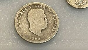 1883 KINGDOM OF HAWAII SILVER 1/4 DOLLAR COIN Kalākaua Coinage