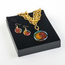 set necklace and earrings sunset Handmade Recycled Glass stainless steel For Her