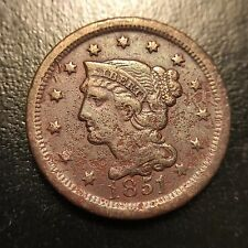 1851 Large Cent Extra Fine XF EF 1c Copper Type