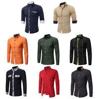 Fashion Men's Slim Fit Shirt Luxury Long Sleeve Dress Shirts Casual Shirts Tops