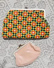 TWO VINTAGE 1960's COIN / CHANGE PURSES LARGER ONE HAS POCKET ON FRONT