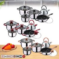 10 Pcs STAINLESS STEEL INDUCTION HOB DINING COOKWARE CASSEROLE POT SAUCEPAN SET