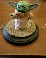 Hand Painted Baby Yoda Statue With Custom Base