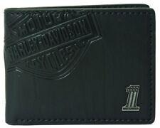 Harley-Davidson® Men's Bar & Shield Bi-Fold Black Leather Wallet CR2343L