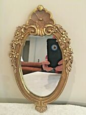 "Oval Gold Antique Look Wood Wall Mirror-Home Décor- 12"" x 7"""