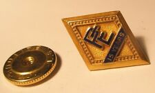 Pe 15 Years Vintage 10 Kt Gold Filled Screw Back Lapel Pin Tie Tack gift