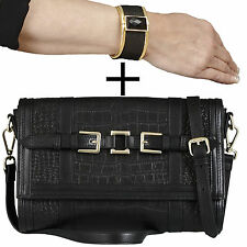 2 in 1: belucia Thirza Pochette Sac a bandouliere noir + gratis Kelsy Bangle