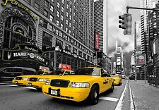 Photographic Wall Mural New York black White Yellow Cabs Times Square