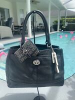 COACH F23280 Park Pebbled Leather Carryall Tote Bag Leather Purse Black +wallet